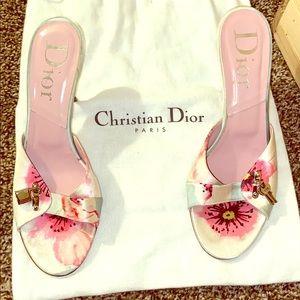 Christian Dior Floral Kitten Heels